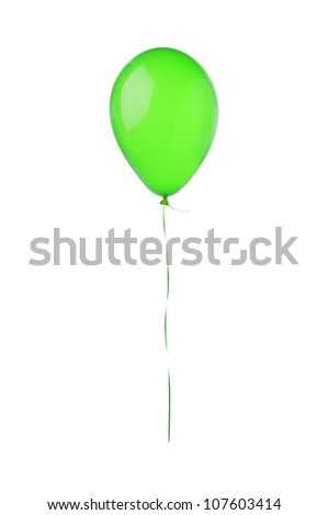 Green hot air flying balloon isolated on white background - stock photo
