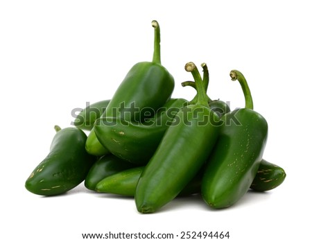 green hot peppers (jalapenos) in close up - stock photo