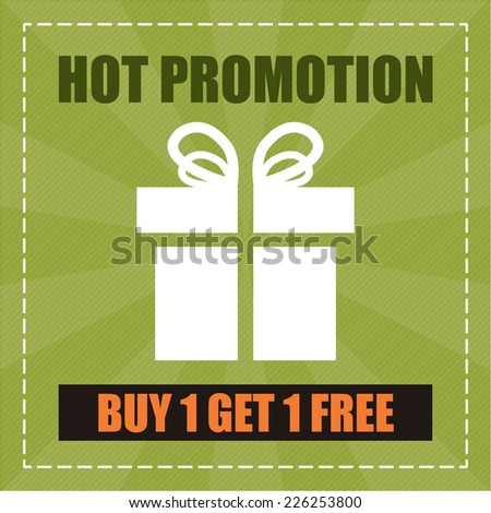 Green Hot Promotion Buy 1 Get 1 Free Label, Icon, Sticker, Brochure, Leaflet or Poster  Isolated on White Background  - stock photo