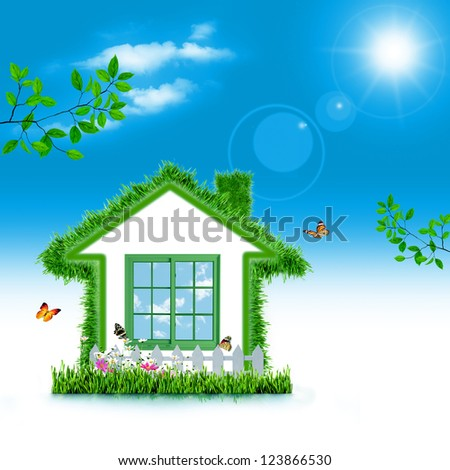 Green House. Abstract eco backgrounds for your design - stock photo