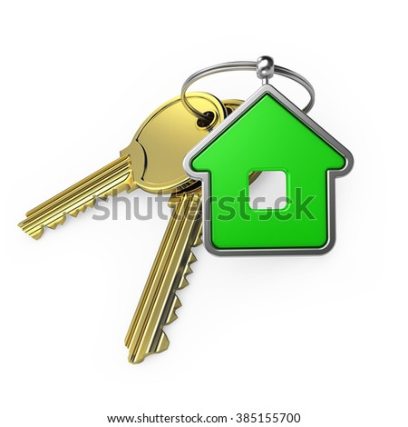 green house and gold key, on a white background, 3d render - stock photo