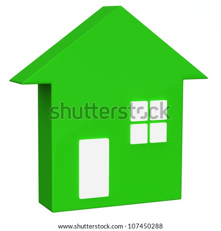 Green house icon 3d - stock photo