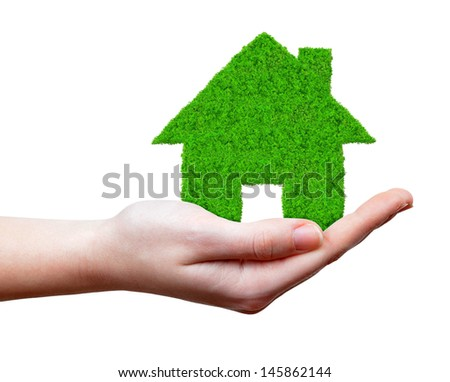 green house in hands isolated on white - stock photo