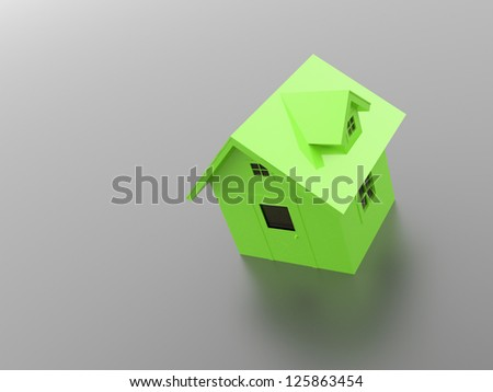 Green house on black background - stock photo