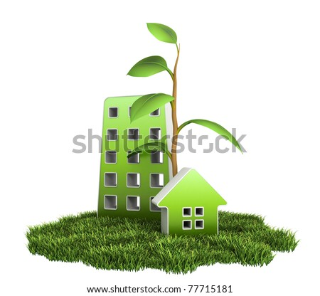 Green House on Grass - stock photo