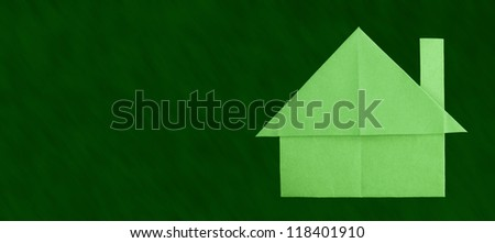 Green house paper made folded origami style. - stock photo