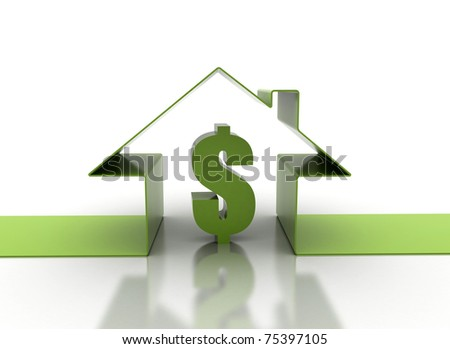 Green house with dollar sign - stock photo