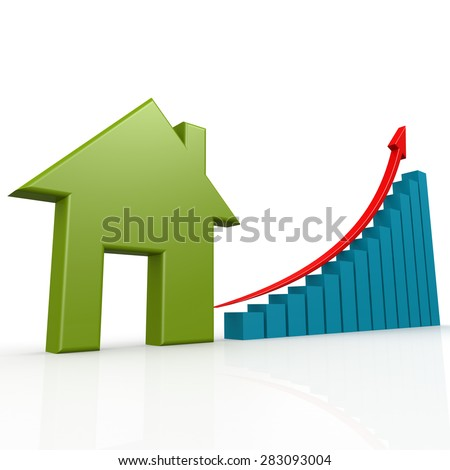 Green house with growth chart image with hi-res rendered artwork that could be used for any graphic design. - stock photo