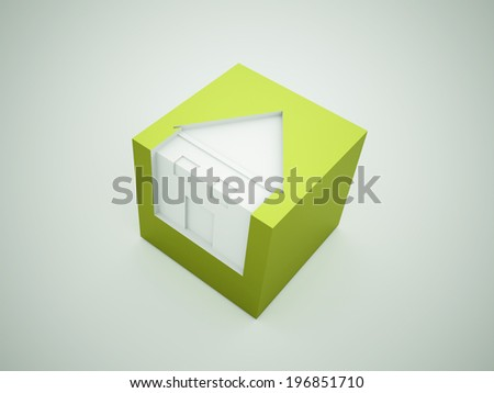 Green houses business concept rendered - stock photo