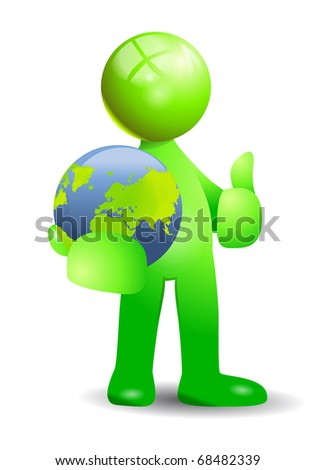 green human with the earth globe in hand