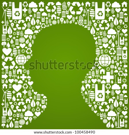 Green icons set background in man head symbol. - stock photo