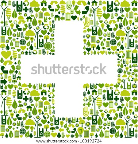 Green icons set in plus shape background.