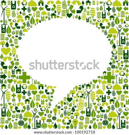 Green icons set in social media speech bubble background. - stock photo