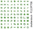 green icons set isolated on white background - stock photo