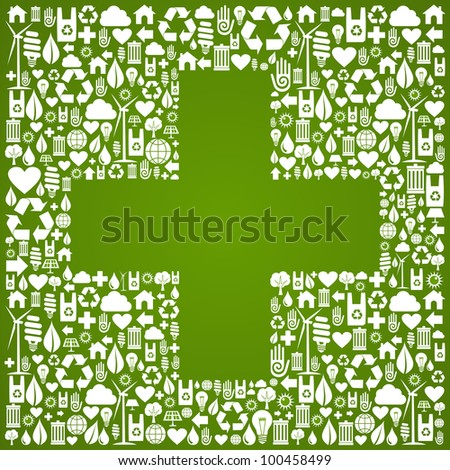 Green icons set with cross background.