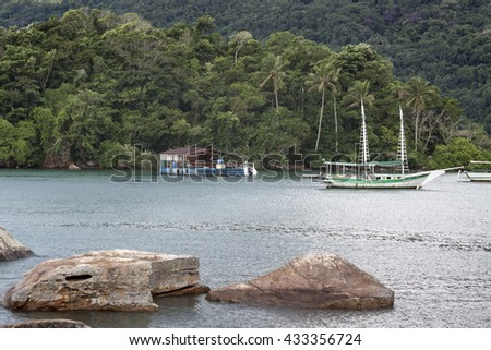 Green Ilha Grande - tropic island in Brasil - stock photo