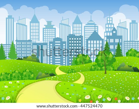 Green illustration landscape with trees road and business city in flat design Raster version - stock photo