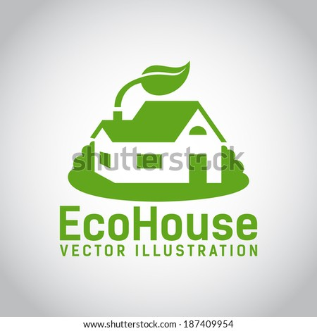 Green illustration of an eco house or eco home  surrounded by grass and with a leaf above the roof  environmentally low-impact and eco-friendly construction  on grey background - stock photo