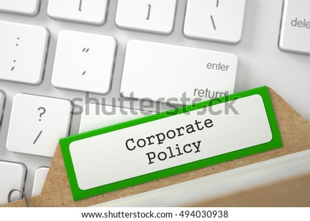 Green Index Card with Inscription Corporate Policy Concept on Background of White Modern Computer Keypad. Closeup View. Blurred Image. 3D Rendering.