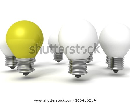 green individual light bulb out from round crowd - stock photo