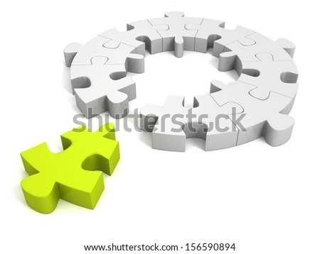 green individual piece for puzzle round concept - stock photo