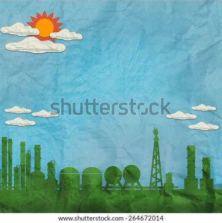 Green Industrial building vintage style on blue sky created by recycle paper craft stick - stock photo