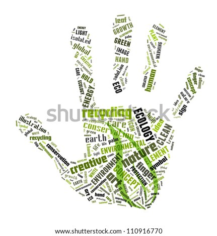 Green info-text graphics arrangement concept composed in hand shape on white background - stock photo