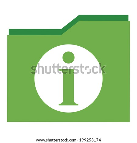 Green Information Document Icon, Sign or Button Isolated on White Background - stock photo