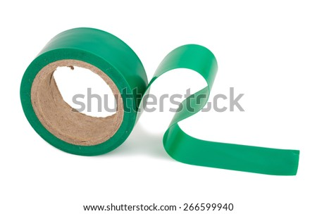 Green insulating tape roll  - stock photo