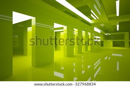 Green interior. 3D illustration. 3D rendering. - stock photo