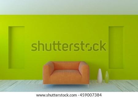 Green interior design with armchair. Scandinavian style. 3D illustration