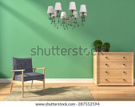 green interior with lamp and armchair. 3d iilustration