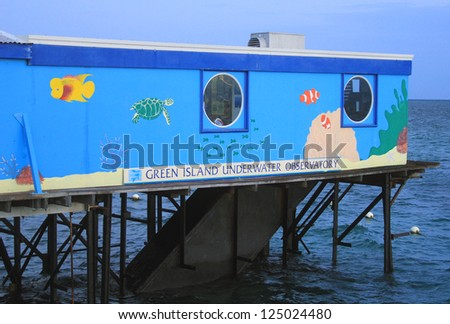 GREEN ISLAND, AUSTRALIA - MARCH 28: Green island underwater observatory on March 28, 2011. This is a piece of marine history, being the world�s first stationary underwater observatory, opened in 1954 - stock photo