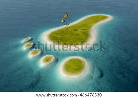 Green islands with white beaches  in the shape of a footprint surrounded by tropical blue ocean water. Conceptual 3D of  go green and the after effects on the environment