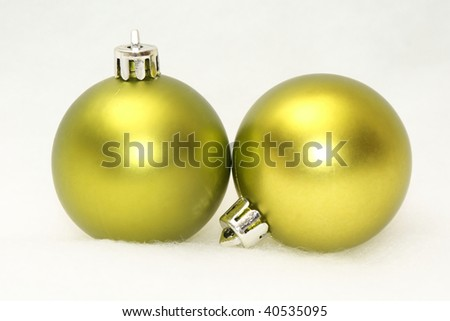 green isolated baubles
