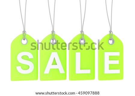 Green isolated sale labels on white background. Price tags. Special offer and promotion. Store discount. Shopping time. 3D rendering.