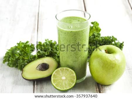 Green juice. Healthy drink. - stock photo