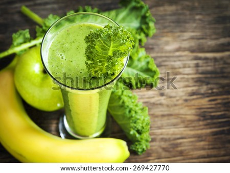 Green juice. Healthy drink. Selective focus - stock photo