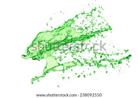 green juice splash on white background - stock photo
