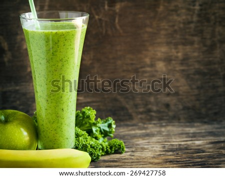 Green juice with chia seeds. Healthy drink - stock photo