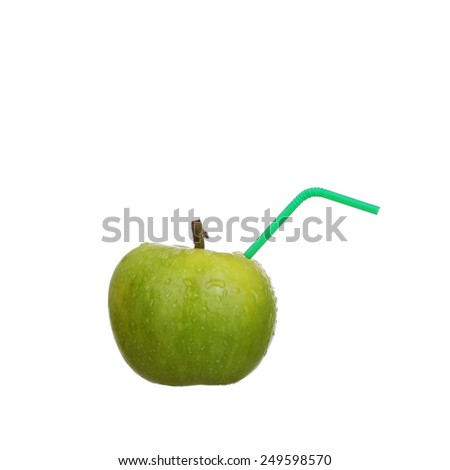 Green juicy apple isolated on white background - stock photo