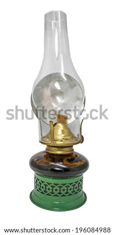 Green kerosene lamp isolated on white background. - stock photo