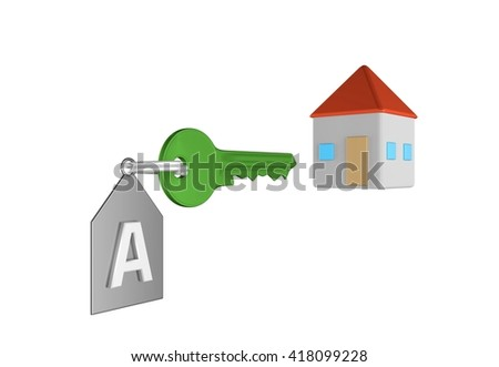Green key and silver trinket with silver ring for locking lock and keep your private in safe. Trinket tag with energetic value of house and home icon. 3D illustration - stock photo
