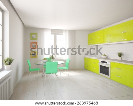 green kitchen-3D rendering - stock photo