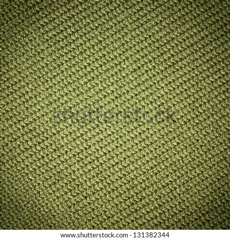 green knitting fabric background - stock photo