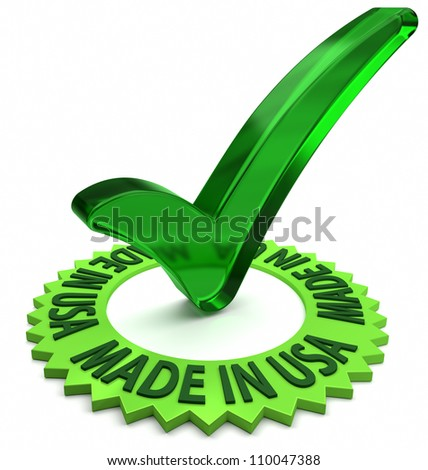 Green label with 3D text and check mark. Part of a series. - stock photo