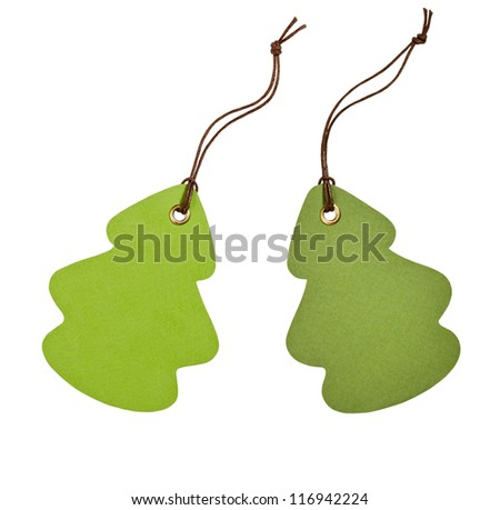 Green labels on the white background - stock photo