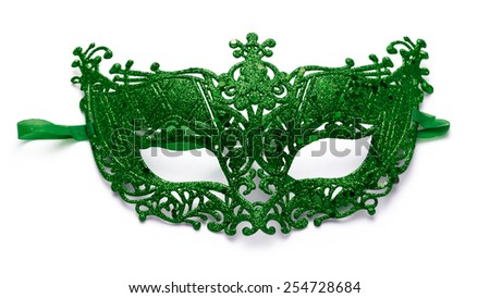 Green lacy carnival mask on white background - stock photo