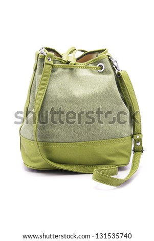 Green Lady Sling Bag on White Background - stock photo