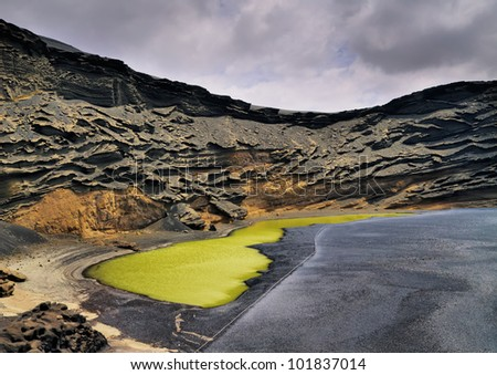 Green Lagoon on Lanzarote, Canary Islands, Spain - stock photo